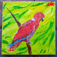 Painting. Parrot of Raspberry - by Olena Light  Click to see full-size image