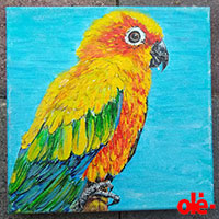 Painting. Sunshine Happy Parrot - by Olena Light  Click to see full-size image
