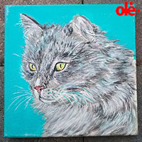 Painting. Siberian Blue Russian Cat - by Olena Light  Click to see full-size image