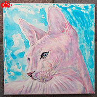Painting. Sunrise Sphynx Cat - by Olena Light  Click to see full-size image